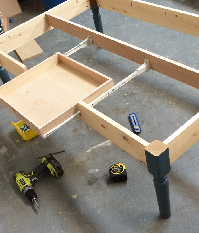 Ana white turned leg coffee table with apron drawer for Diy coffee table with drawers