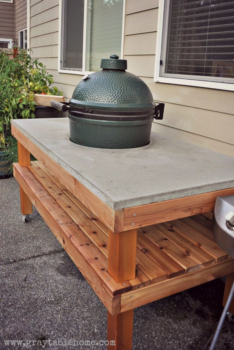 Ana White   DIY Big Green Egg Grill Table with Concrete ...