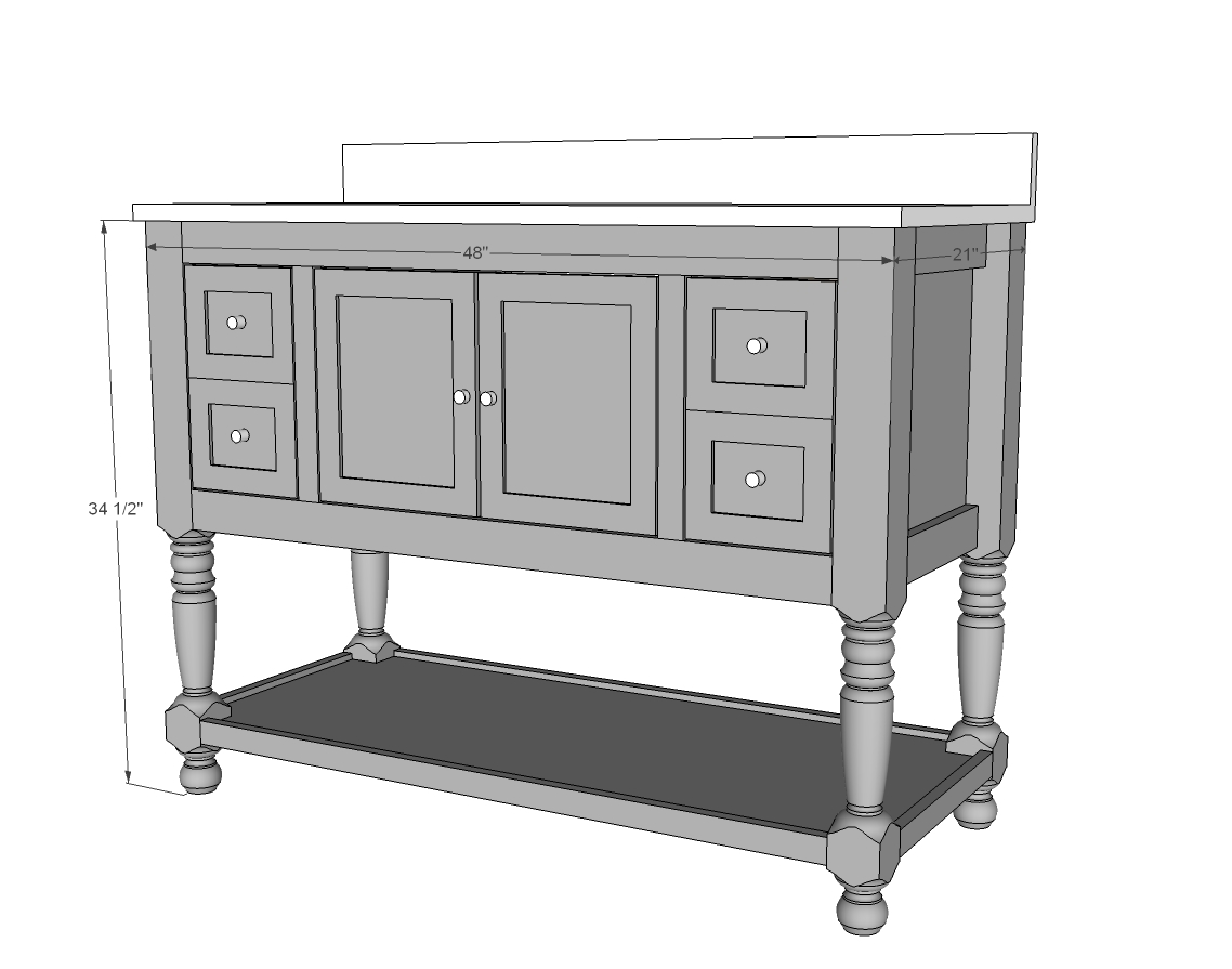 Ana White 48 Quot Turned Leg Vanity Diy Projects