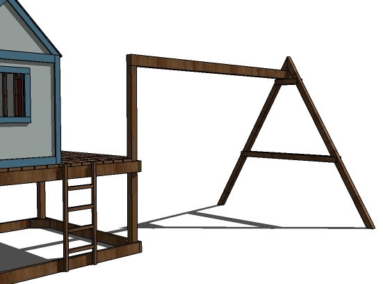 Ana white how to build a swing set for the playhouse for Build a swing set playhouse
