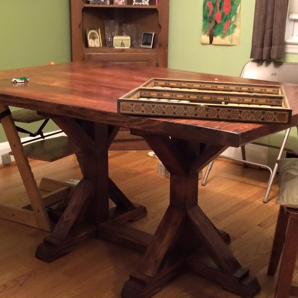 Ana white double square x pedestal dining table diy for Ana white x dining room table