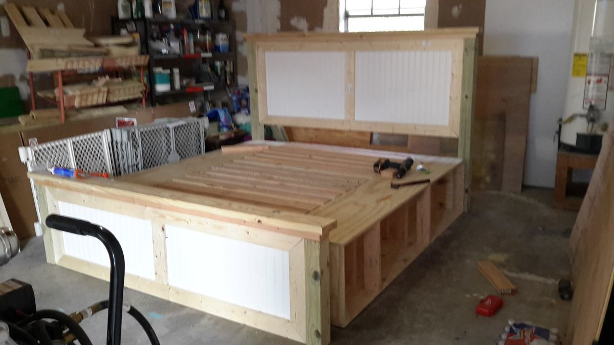 Ana White King Farmhouse Storage Bed Diy Projects