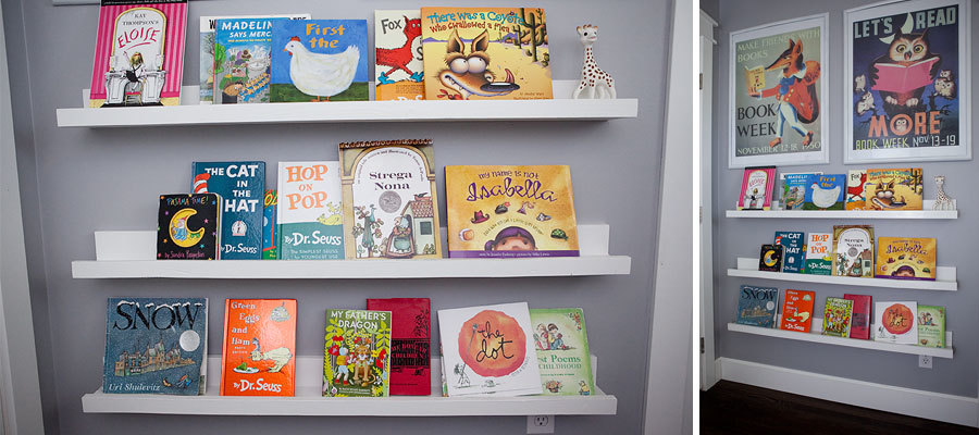picture ledge with books in kids room