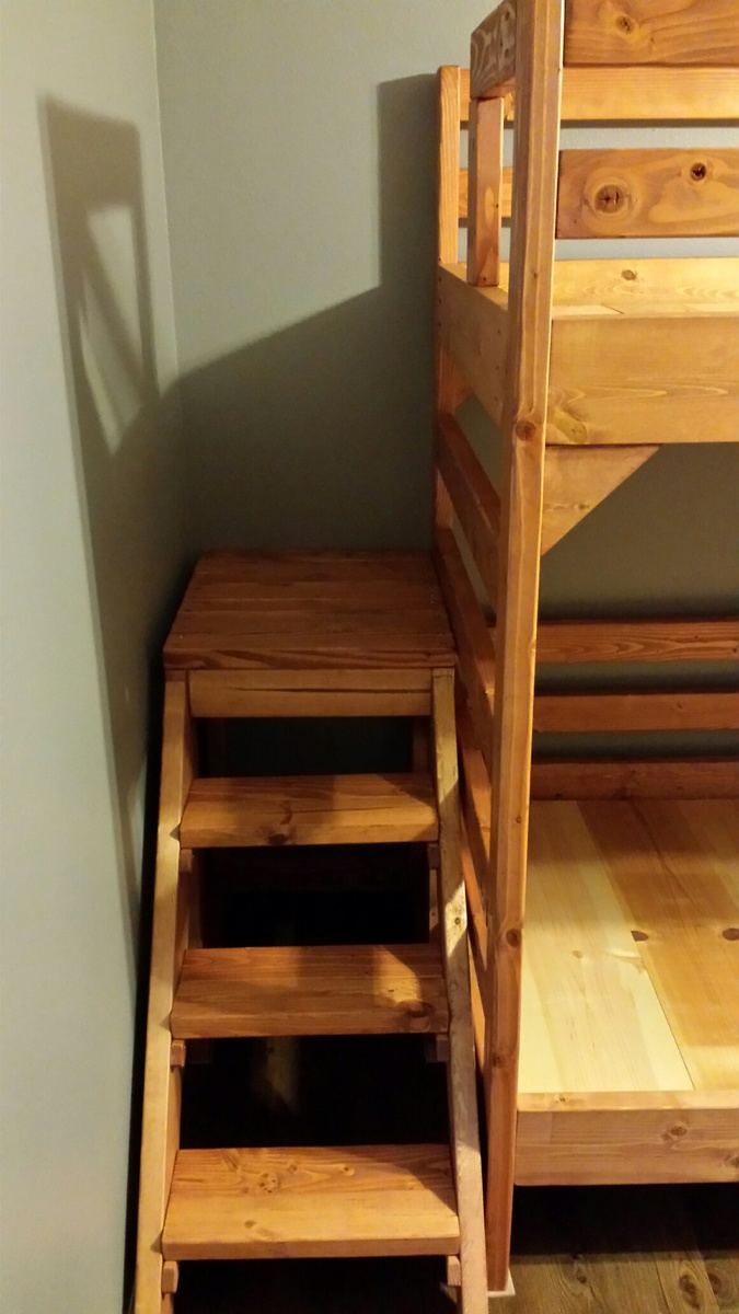 Modified Camp Loft Bed With Stairs Into Bunk Beds Ana White