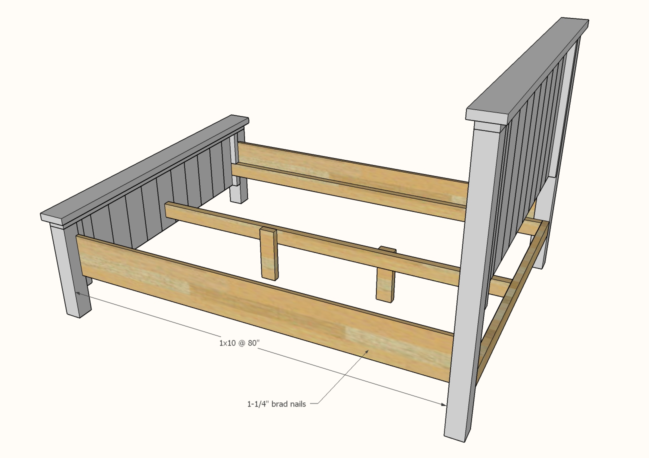diagram showing the siderails attaching to the bed frame
