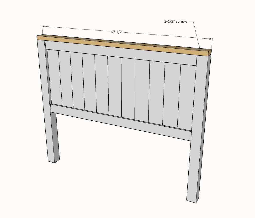 Diagram showing attaching the 2x4 top to the headboard panel