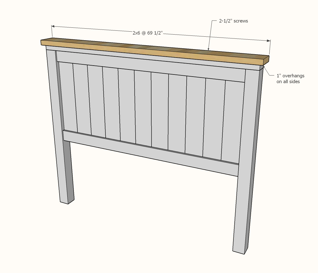Diagram showing attaching the 2x6 top to the headboard panel