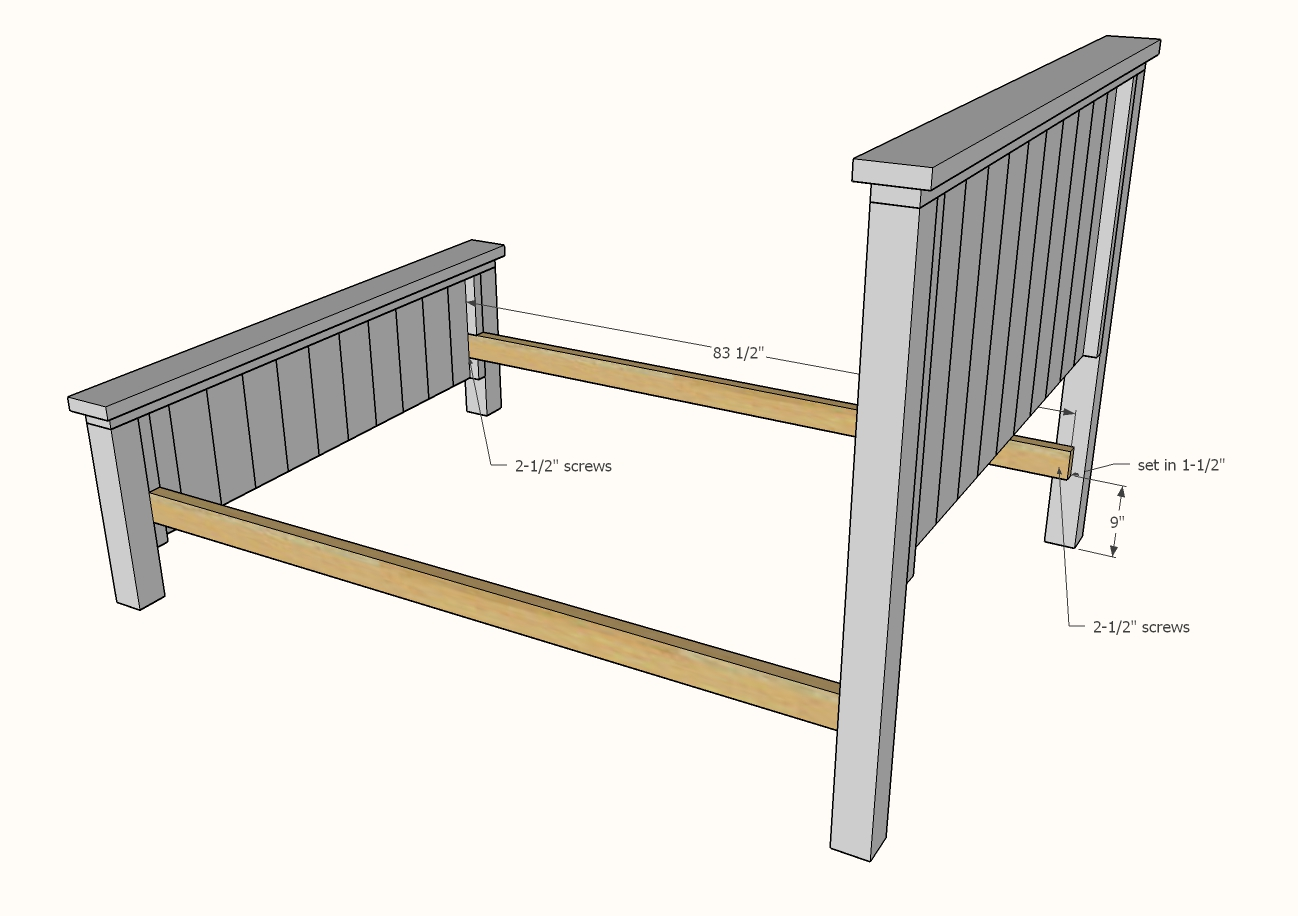 diagram showing headboard and footboard attached to siderail cleats
