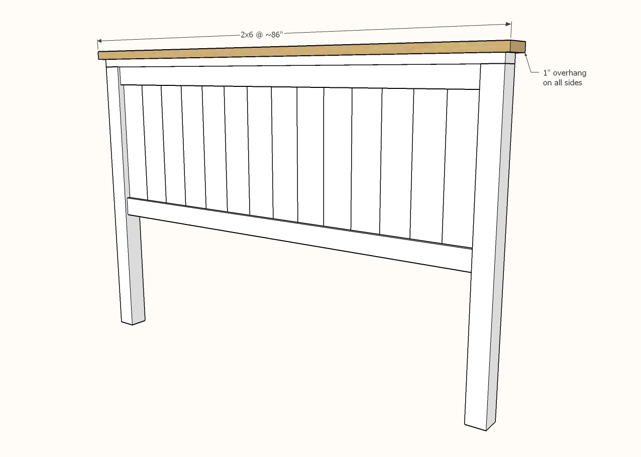 diagram showing 2x6 attached to the headboard panel