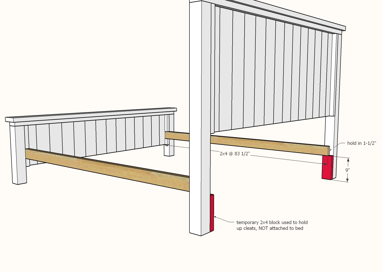 diagram of siderail cleats attaching to the headboard and footboard