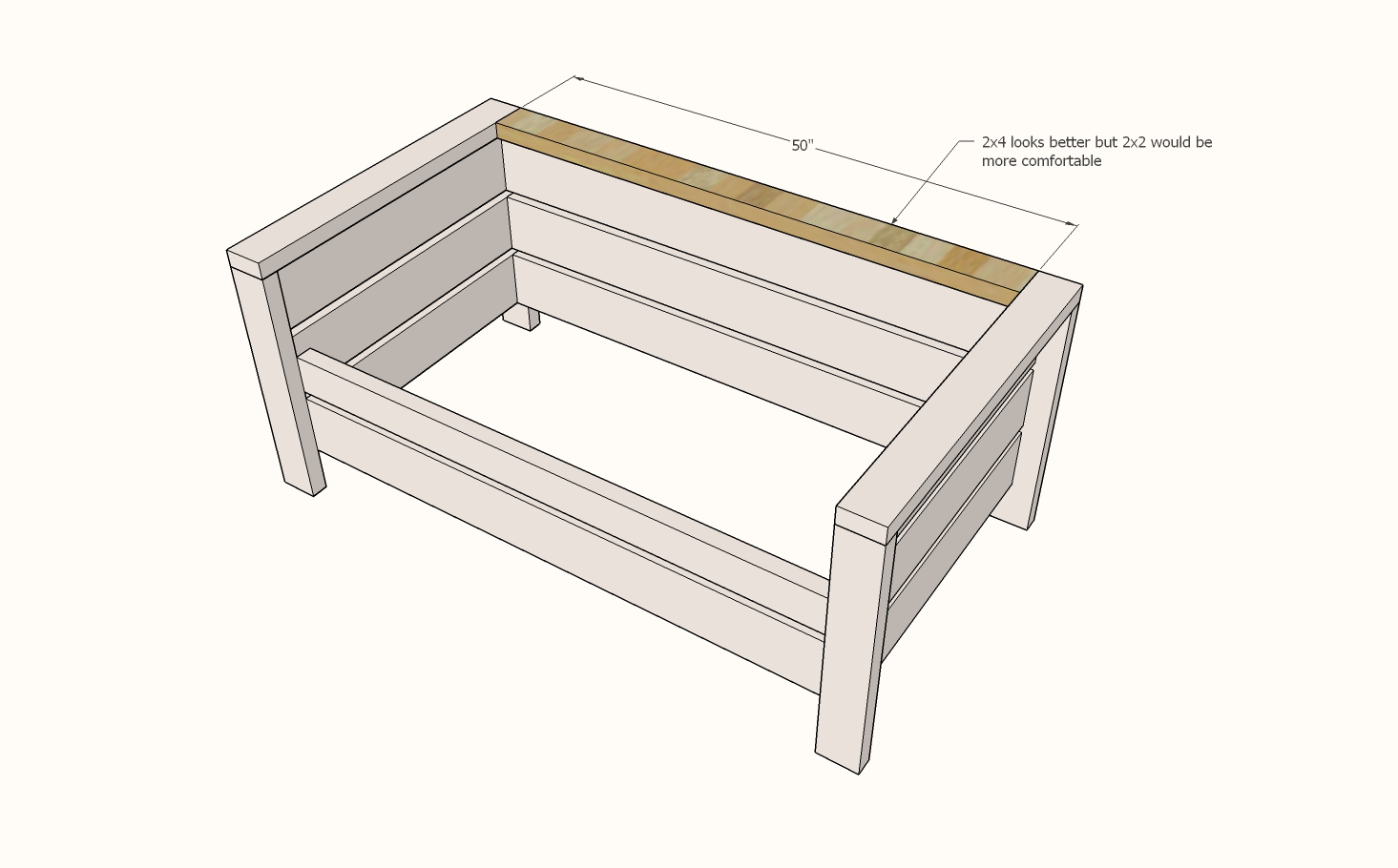 add the back rest to the chair diagram