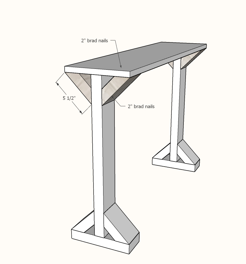 narrow console table step 3
