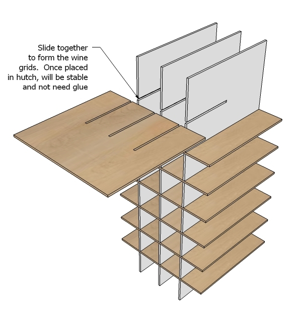Ana white modular bar wine grid hutch diy projects - Wine rack for small space plan ...