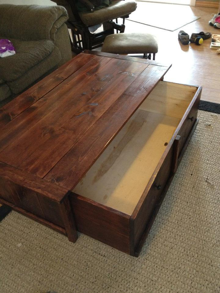 ana white 20 sec tidy up coffee table with trundle toy box storage diy projects. Black Bedroom Furniture Sets. Home Design Ideas