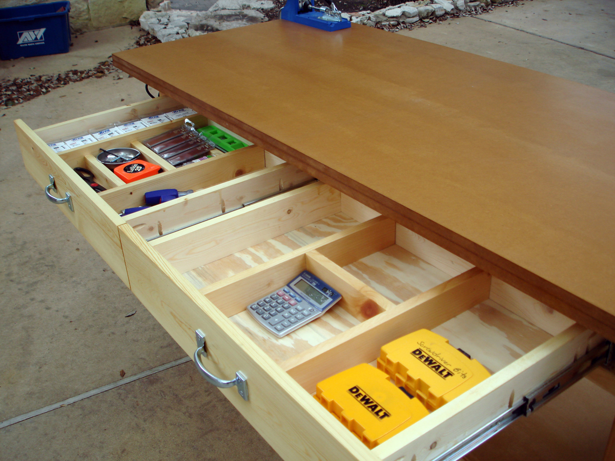 Image Of Wooden Workbench With Drawers Plans Build this