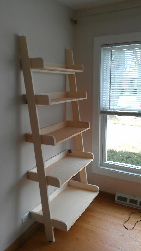 pottery barn leaning bookshelf plans