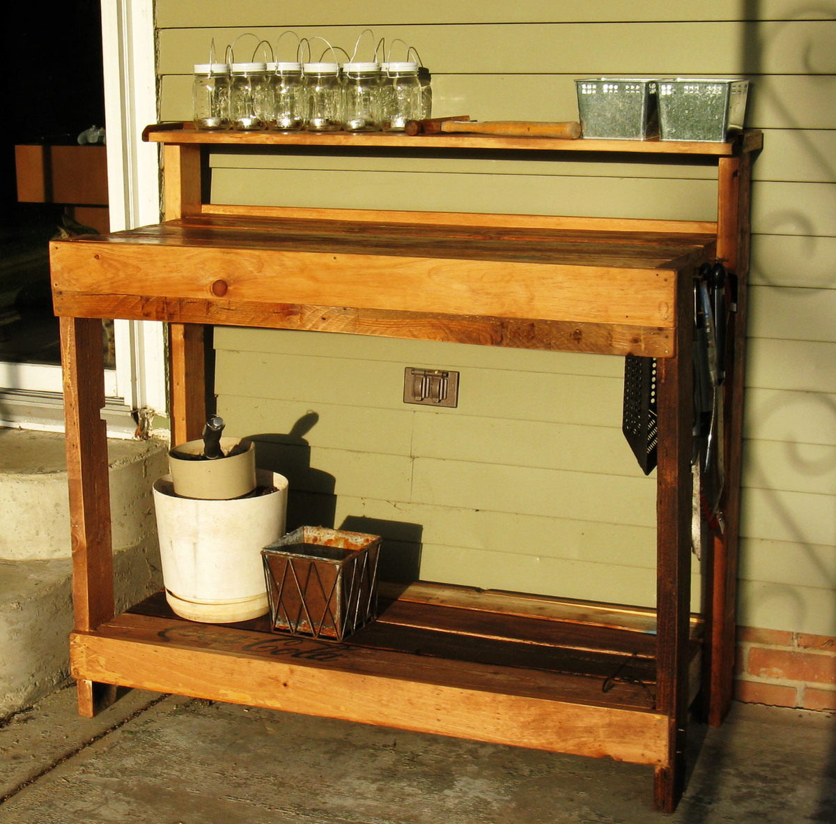 Modified Reclaimed Wood Potting Bench Ana White Woodworking Projects