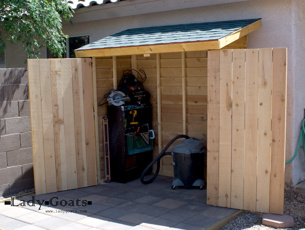 Ana white small cedar fence picket storage shed diy for Building a storage shed