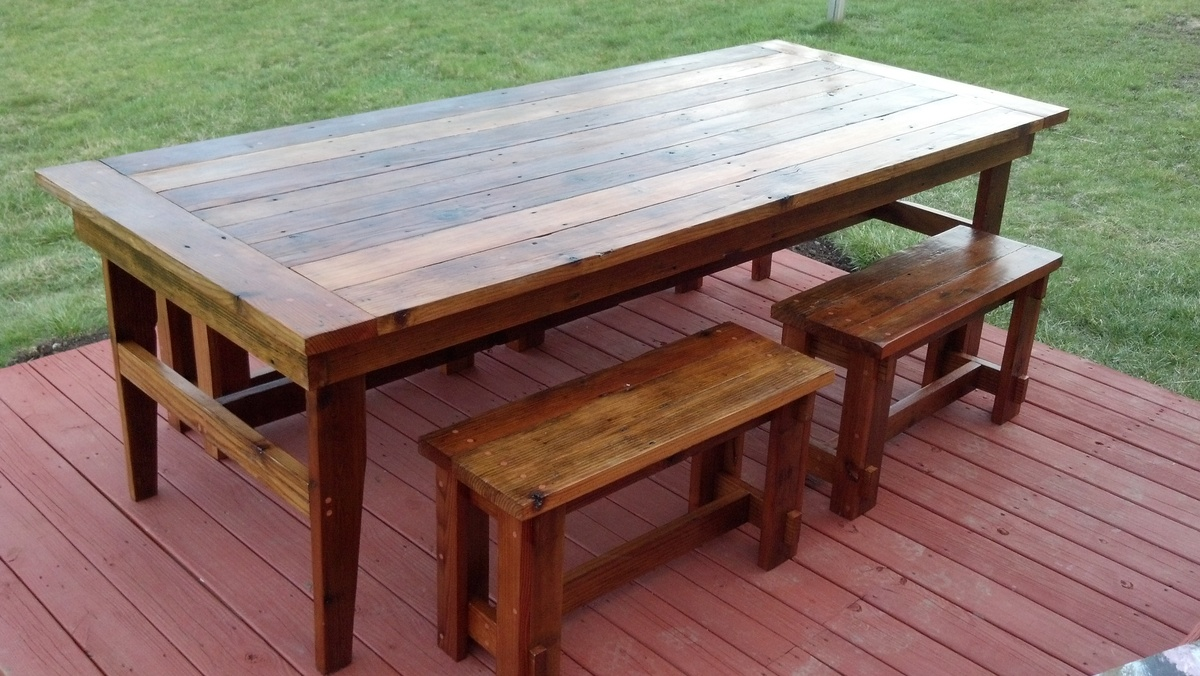Rustic Farm Table & Benches | Do It Yourself Home Projects from ...