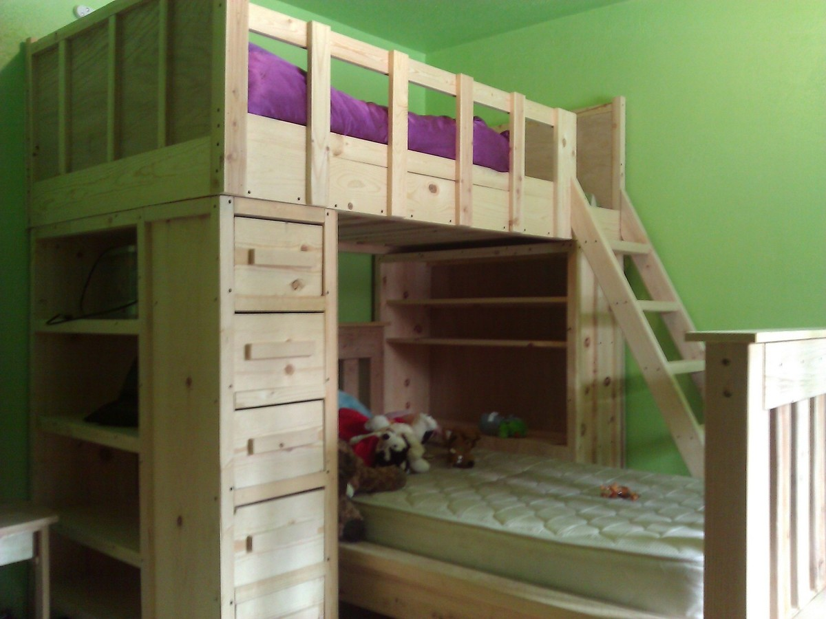 Cabin Bunk Bed Plans king size storage bed with drawers plans Building ...
