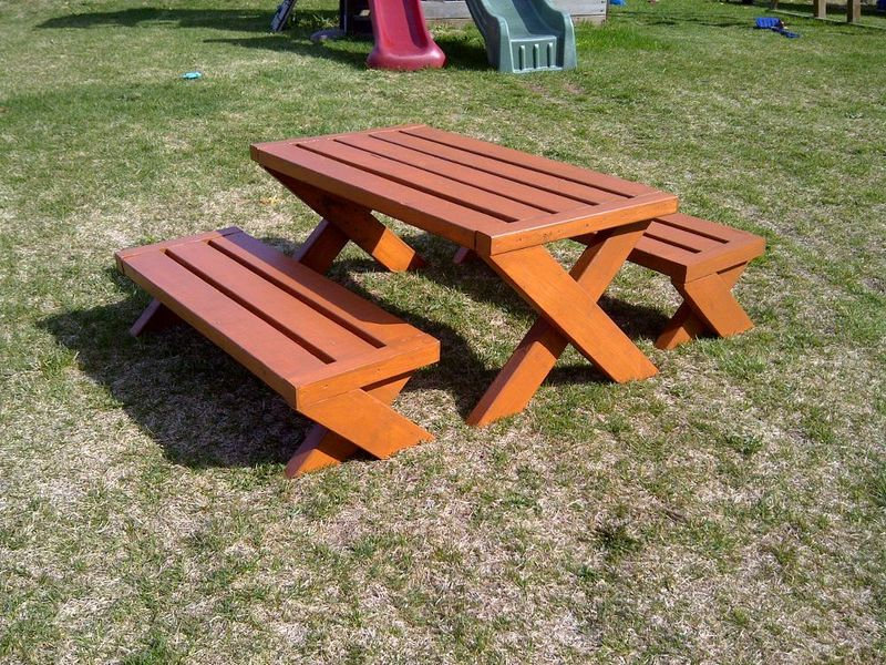Modern Kid S Picnic Table And Is Two X Benches Ana White