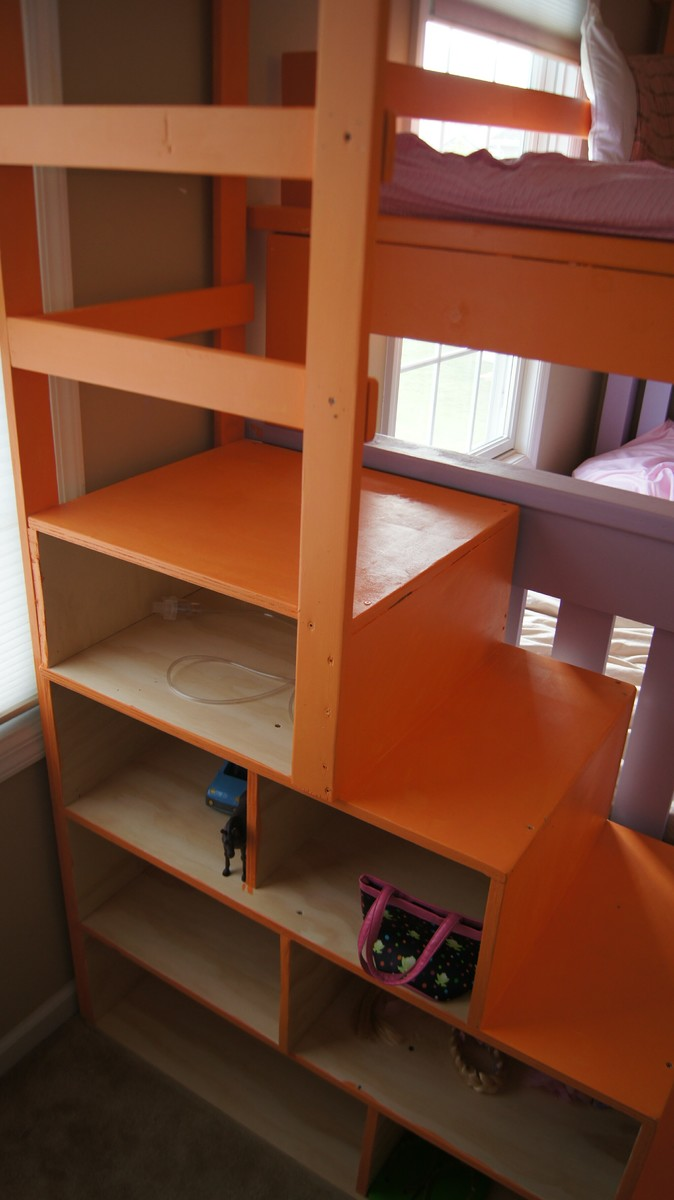 Ana white simple bunk bed with a triple twist and cubby for Easy stairs diy