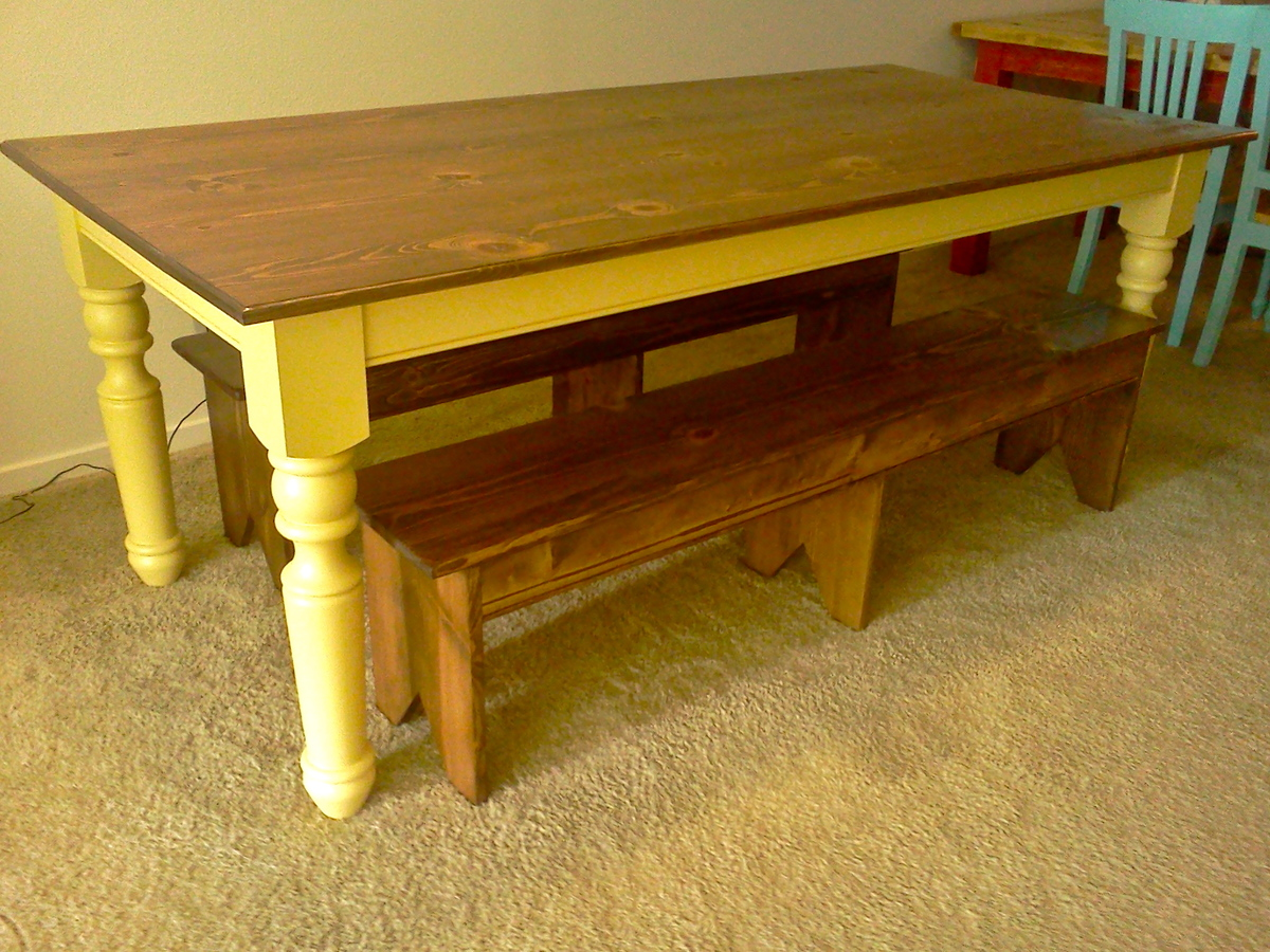 Ana white turned leg farmhouse table diy projects - Building a kitchen bench ...