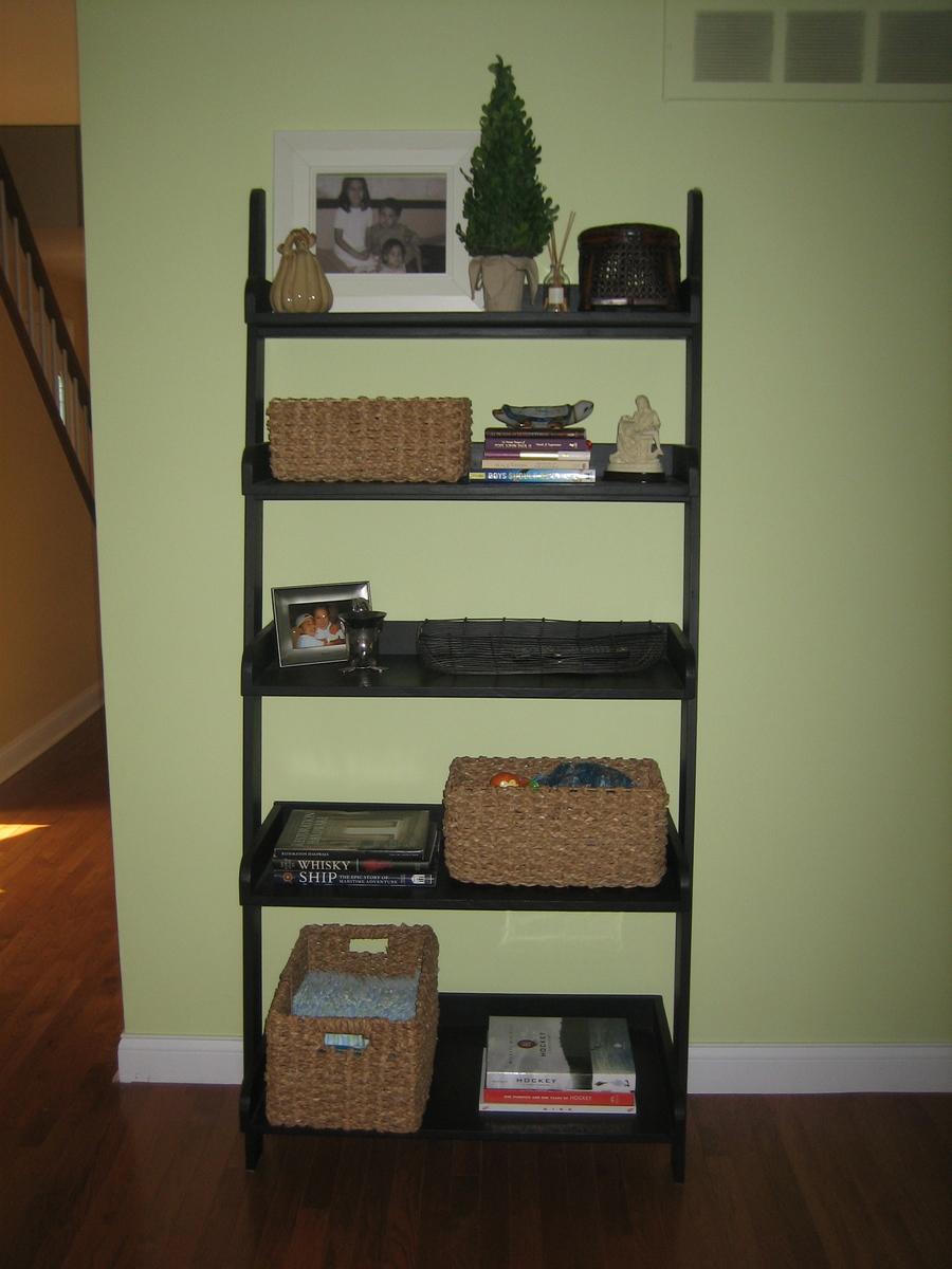 Diy leaning ladder bookshelve homedesignpictures for Do it yourself home projects