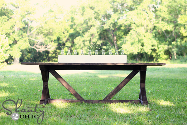 Ana white fancy x farmhouse table diy projects Narrow farmhouse table plans