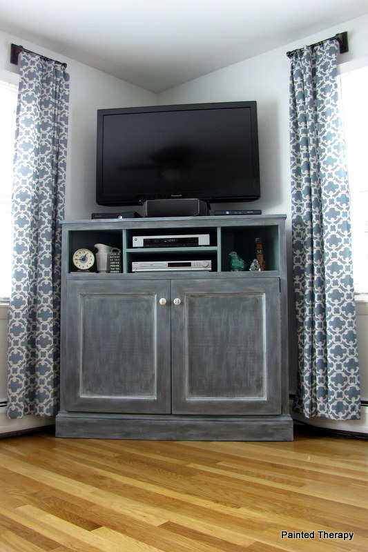 ana white tall corner media console diy projects