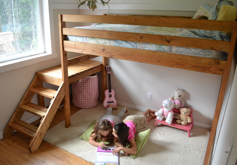 wood loft bed with stairs