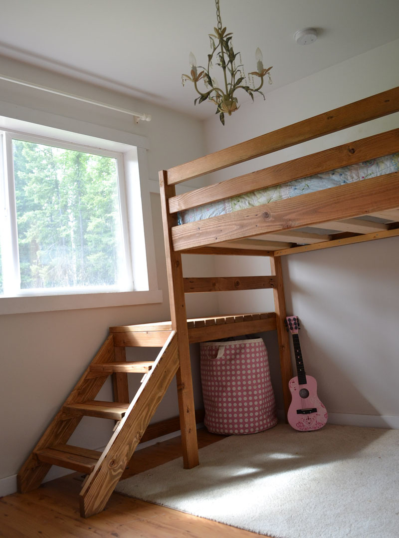 Ana White | Camp Loft Bed with Stair, Junior Height - DIY Projects