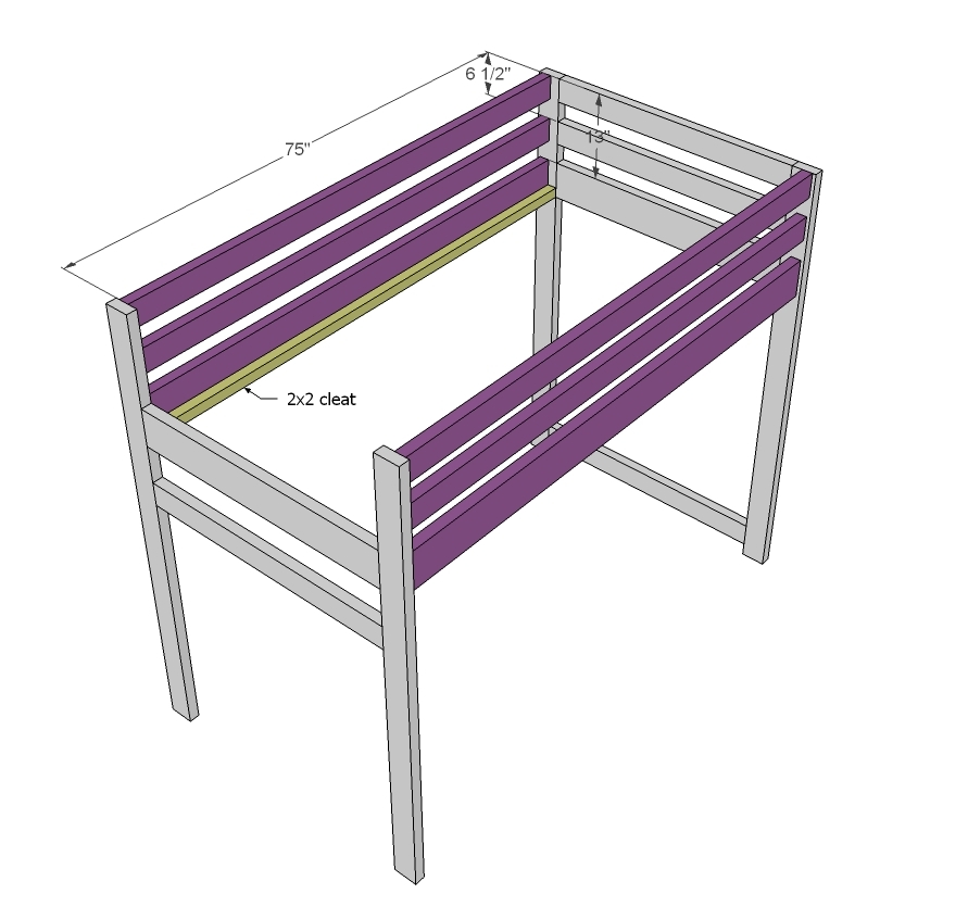 ana white camp loft bed with stair junior height diy. Black Bedroom Furniture Sets. Home Design Ideas