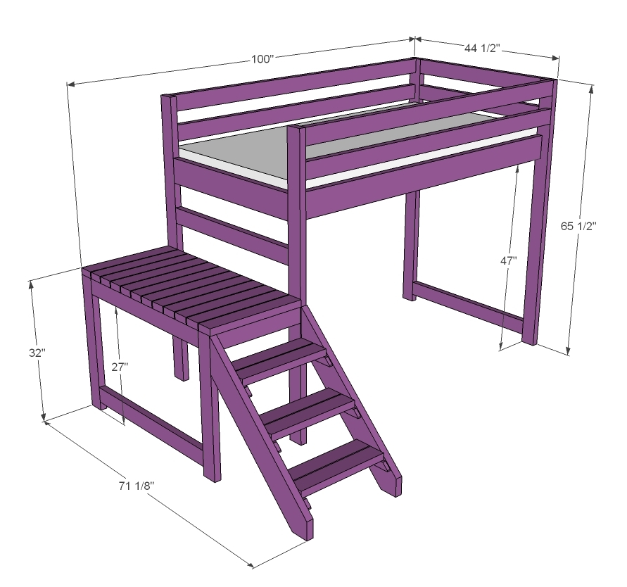 Ana White | Build a Camp Loft Bed with Stair, Junior Height | Free and ...