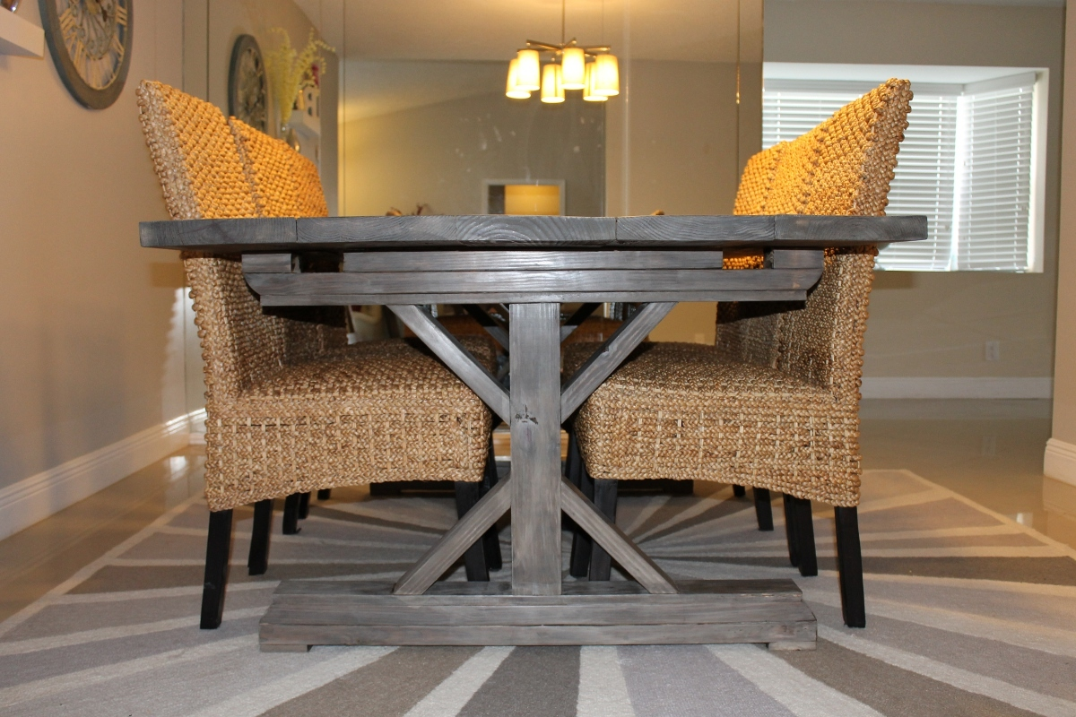 Weathered Gray Fancy X Farmhouse Table With Extensions | Do It ...