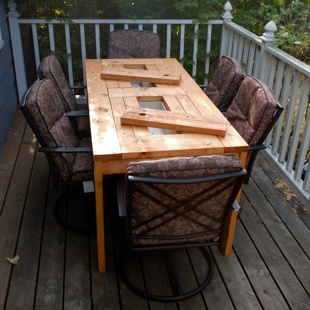 Backyard Table Diy : Ana White  Patio Table with Builtin BeerWine Coolers  DIY Projects