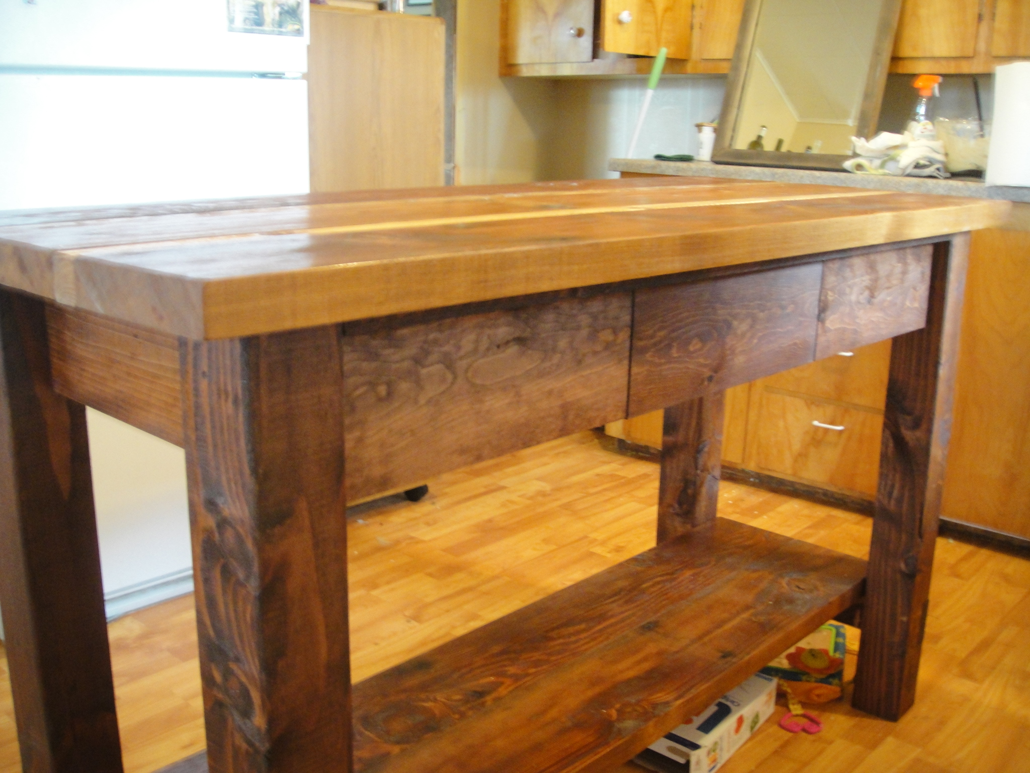 Ana white kitchen island from reclaimed wood diy projects for Cheap diy kitchen island ideas