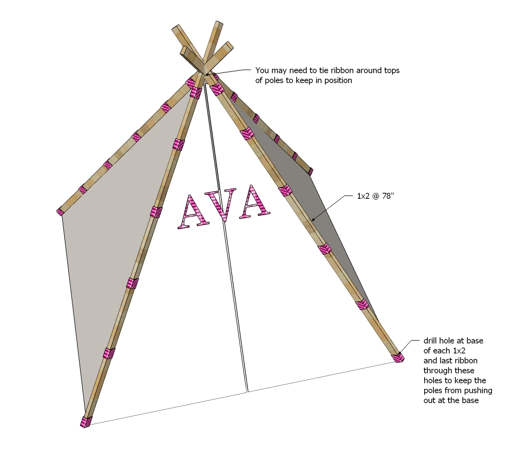 ana white easiest play teepee tutorial diy projects. Black Bedroom Furniture Sets. Home Design Ideas