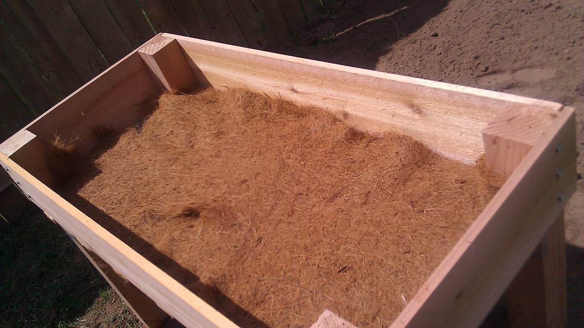 Counter Height Vegetable Garden : used coconut cloth in the bottom however you could use newspaper ...