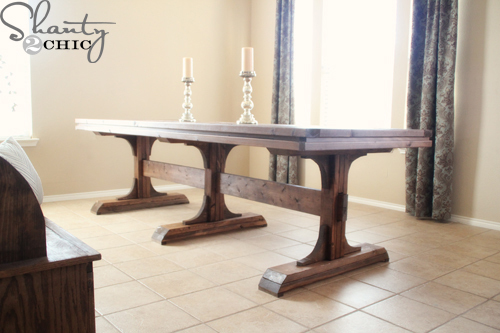 Ana white triple pedestal farmhouse table diy projects for Building a trestle dining table