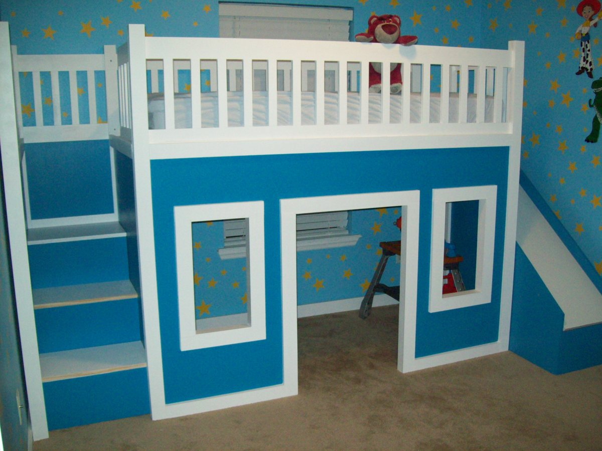 ... Loft Bed With Stairs And Slide, Playhouse Loft Bed, Loft Bed - DIY