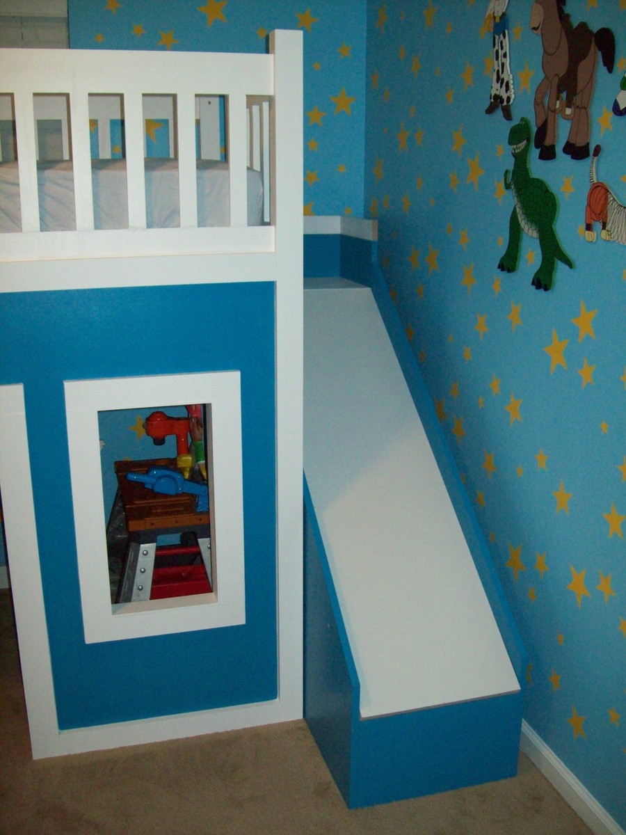 Playhouse Loft Bed With Stairs And Slide, Playhouse Loft Bed, Loft Bed