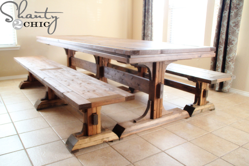Ana white triple pedestal farmhouse bench diy projects Pedestal farmhouse table plans