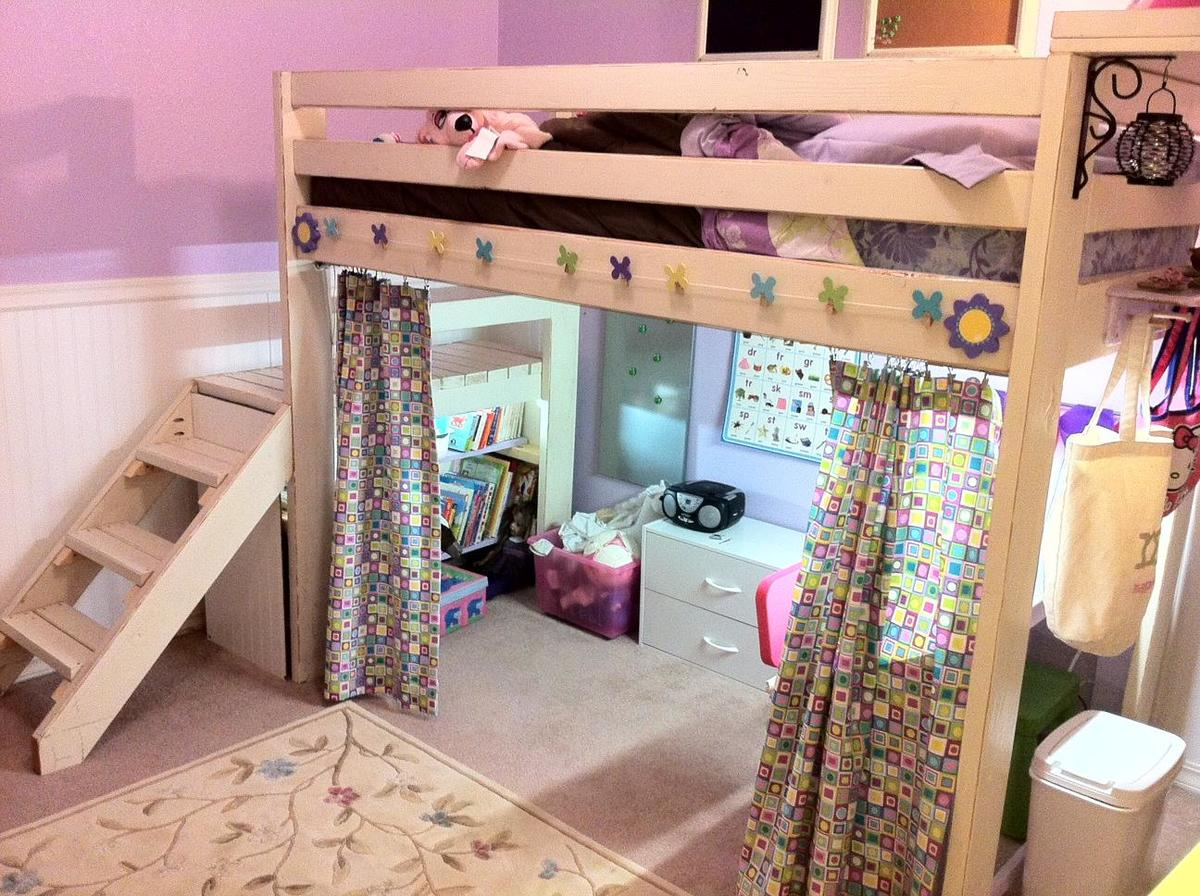 Ana white art studio loft bed diy projects for Bedroom art studio ideas