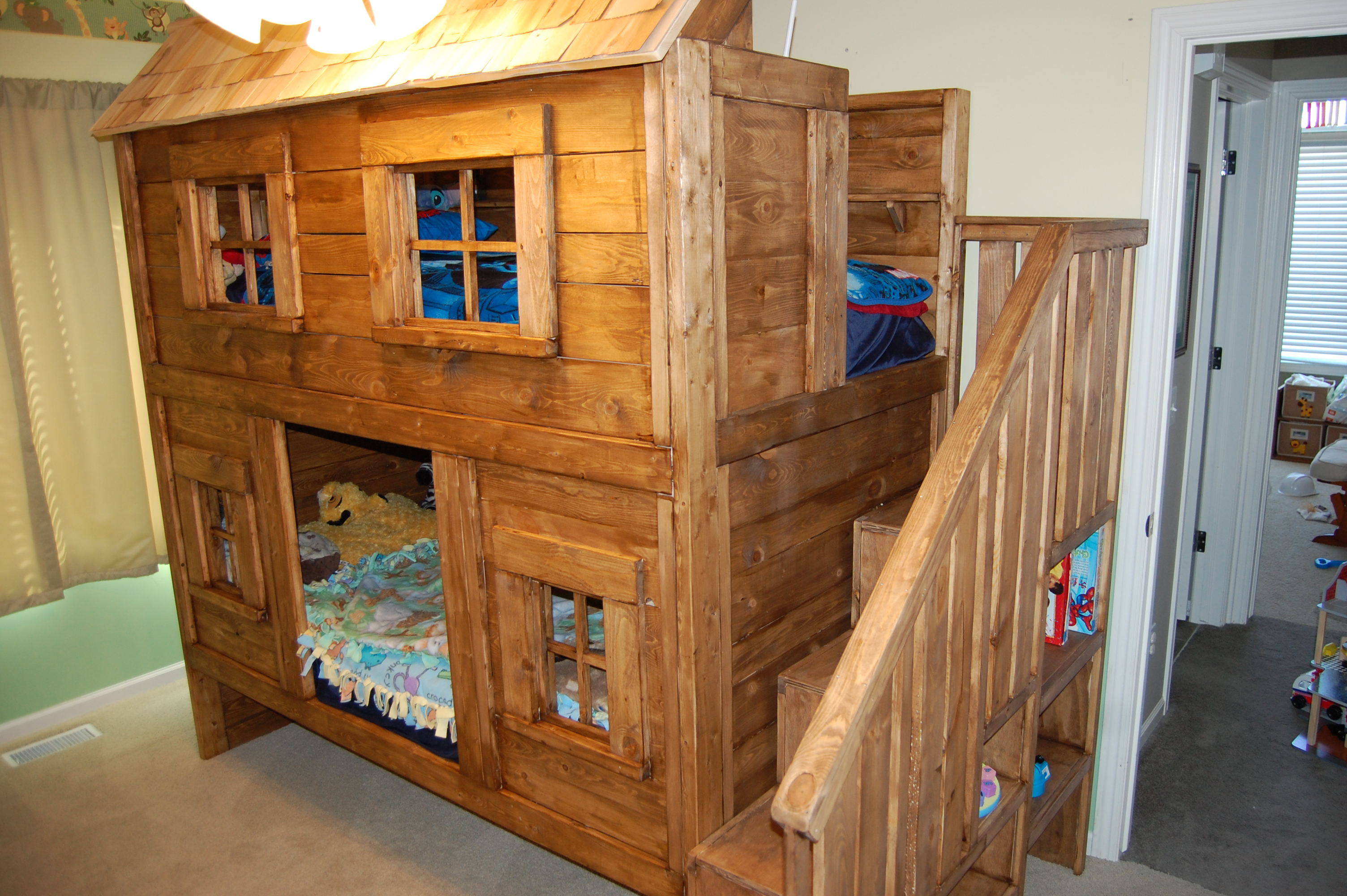 Ana white rustic cabin bunk bed diy projects for Cabin bed plans