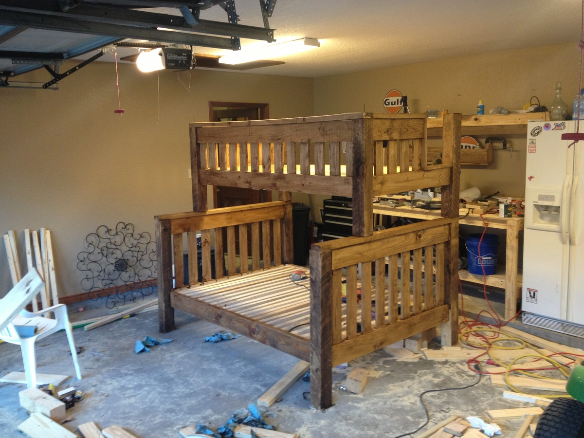 Wooden bunk bed building plans twin over full plans pdf for Diy rustic bunk beds
