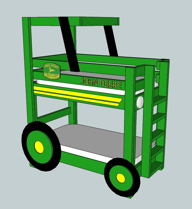 John Deere Bed Plans : Ana white john deere tractor toddler bunk beds diy