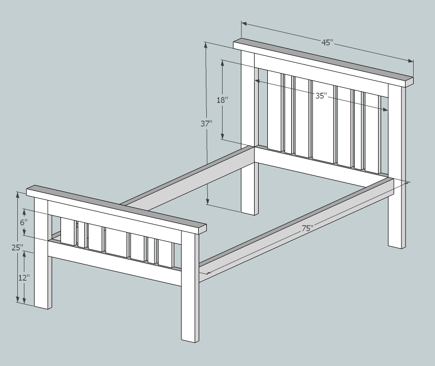 Simple 2x4 Misson Style Bed Ana White, How To Build A Simple Twin Bed
