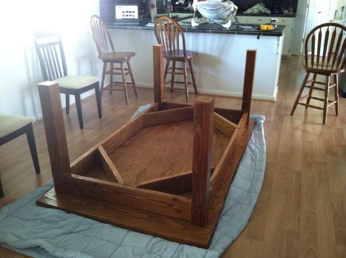 Ana white customized farmhouse table diy projects - Building kitchen table ...