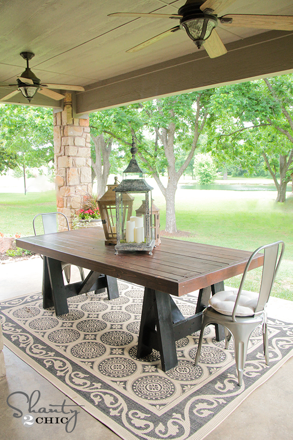 Backyard Table Plans : Ana White  Sawhorse Outdoor Table  DIY Projects
